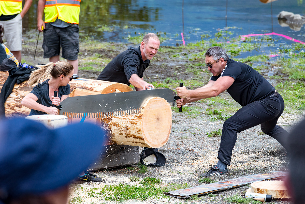 Two people using a large saw to saw through a log during Kaslo Logger Sports