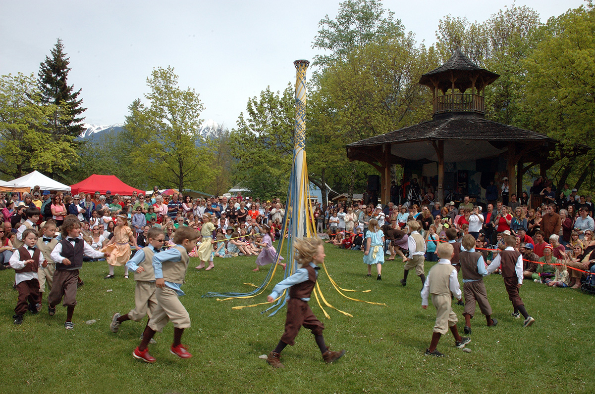 Kids doing the traditional May Pole dance during Kaslo May Days festival
