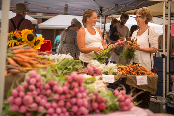 Two women talking about local produce at a market in Nelson, BC
