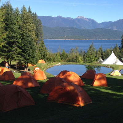 Tents on waterfront campground beside Kootenay Lake.