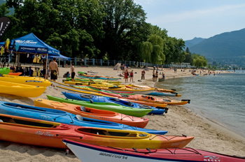Kayaks for rent on Lakeside Park beach in Nelson, BC.