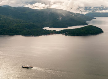 A ferry crossing the Kootenay Lake in BC.