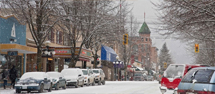 Downtown Nelson, BC in the snow.