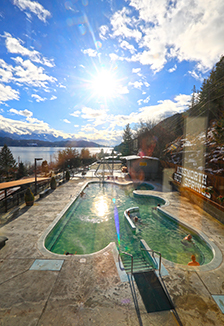 Ainsworth Hot Springs on a sunny winter day.