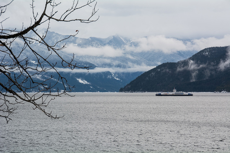 The Kootenay Lake Ferry crossing during the winter