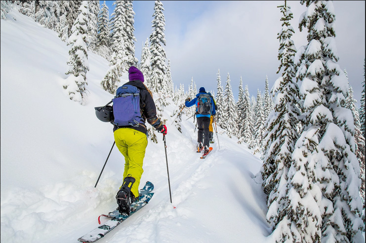 Two people going up the skin track in the Whitewater backcountry.