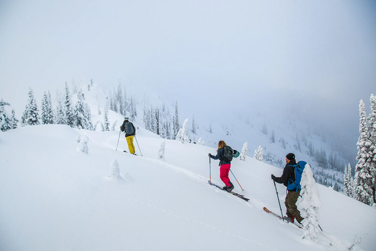 A group of skiers on the skin track in the Whitewater Backcountry.