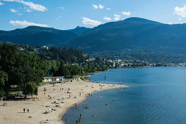 The beach at Lakeside Park in Nelson, BC.