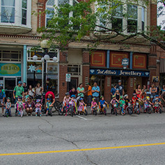 A group of kids lined up during Fat Tire Festival.