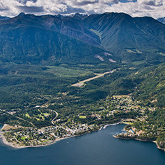 An aerial view of Kaslo, BC.
