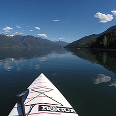 Paddling at the North end of Kootenay Lake