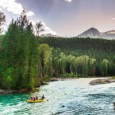 A Lardeau River Adventures raft going down the river.