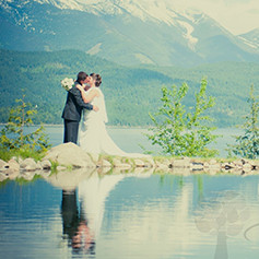 Bride and Groom on the shores of Kootenay Lake.