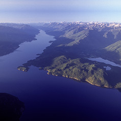 An aerial view of Kootenay Lake.