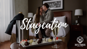 A couple kissing in a hotel room, blurred out, with the word Staycation in front.
