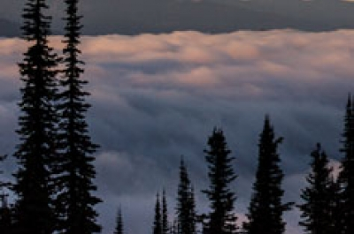 Kootenay Lake covered by clouds.