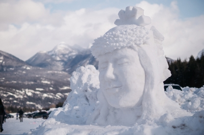 A snow sculpture at Kaslo Winter in the Forest Festival