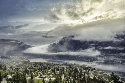 Nelson, BC from above with interesting cloud formations.