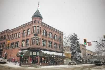 A Heritage Building in the snow in Nelson, BC.