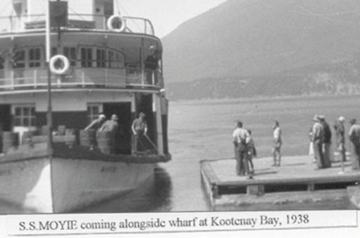 A vintage photo of the SS Moyie in 1938.