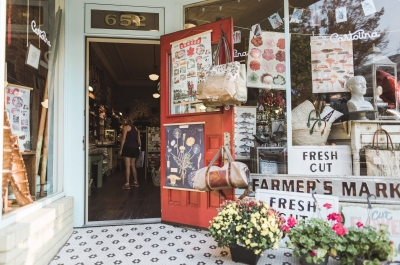 An open door to a downtown Nelson, BC shop: Cartolina on Baker Street
