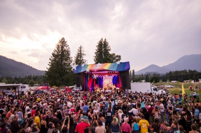 A crowd in front of the stage at Starbelly Jam Music Festival in Crawford Bay, BC