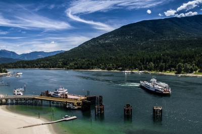 The Kootenay Lake Ferry about to pull into the Balfour Ferry Terminal