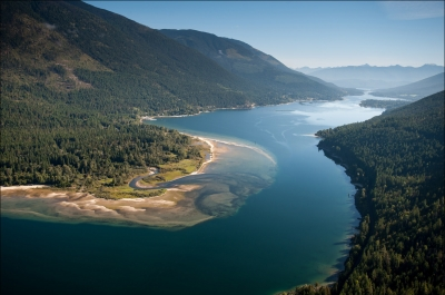 Aerial View of Kokanee Creek Provincial Park and Kootenay Lake