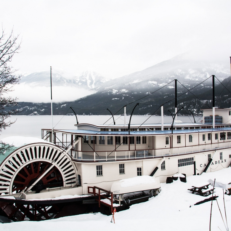 The SS Moyie Sternwheeler with a snowy background in Kaslo BC