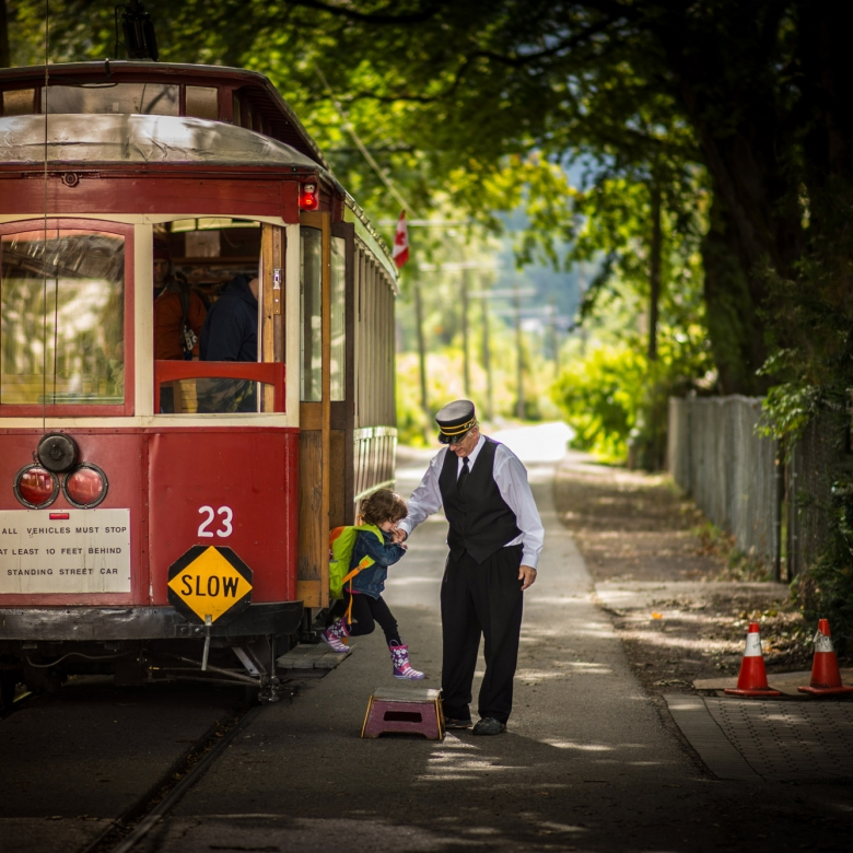 Streetcar #23 in Nelson BC, a park-side tram running daily throughout the summer.