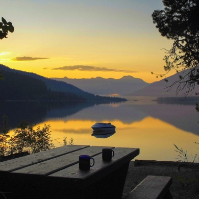 Sunrise at Kokanee Creek Provincial Park, a great campground near Nelson BC