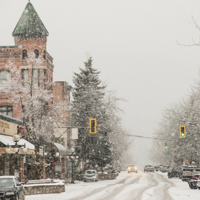 Downtown Nelson BC during a very snowy day.