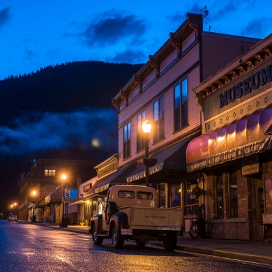 Kaslo BC's Front Street, with many off-season stores to explore