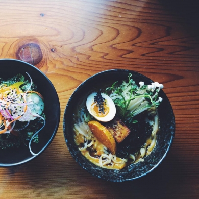 A ramen bowl viewed from above, from Red Light Ramen in Nelson BC
