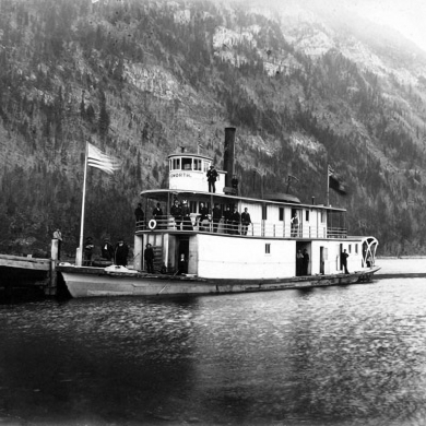 SS City of Ainsworth tied up at Lardeau wharf, circa 1894