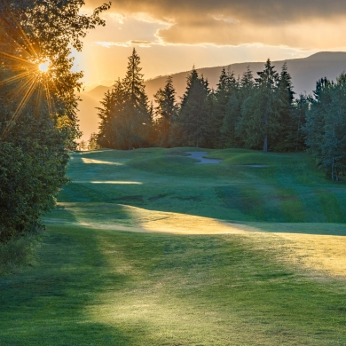 Balfour Golf Course at sunset, a golf course near Nelson BC and Balfour BC.