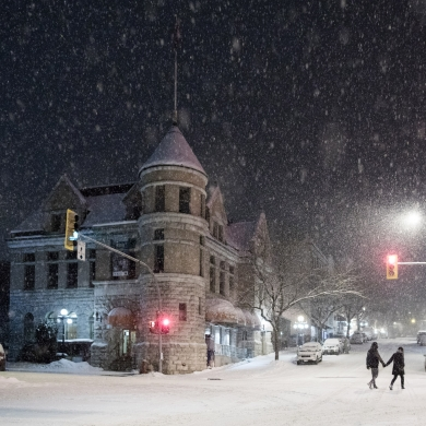 Touchstones Museum in Nelson, BC on a snowy night.