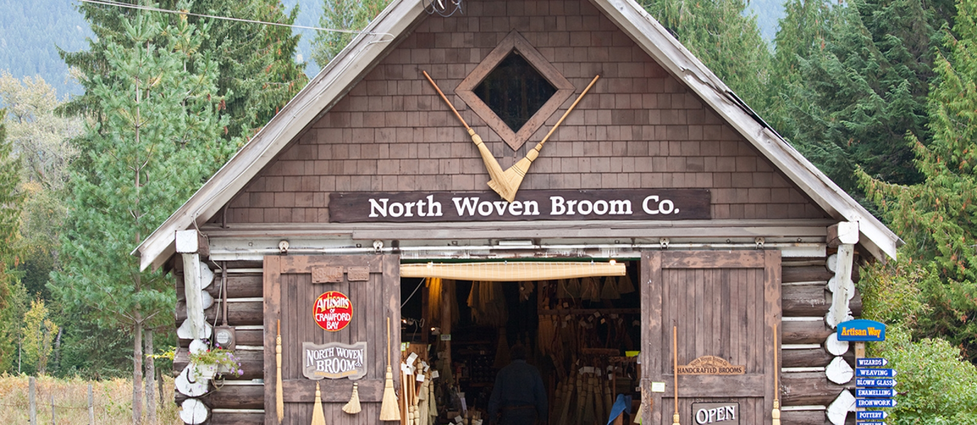 North Woven Broom Co barn building - one of the Artisans of Crawford Bay