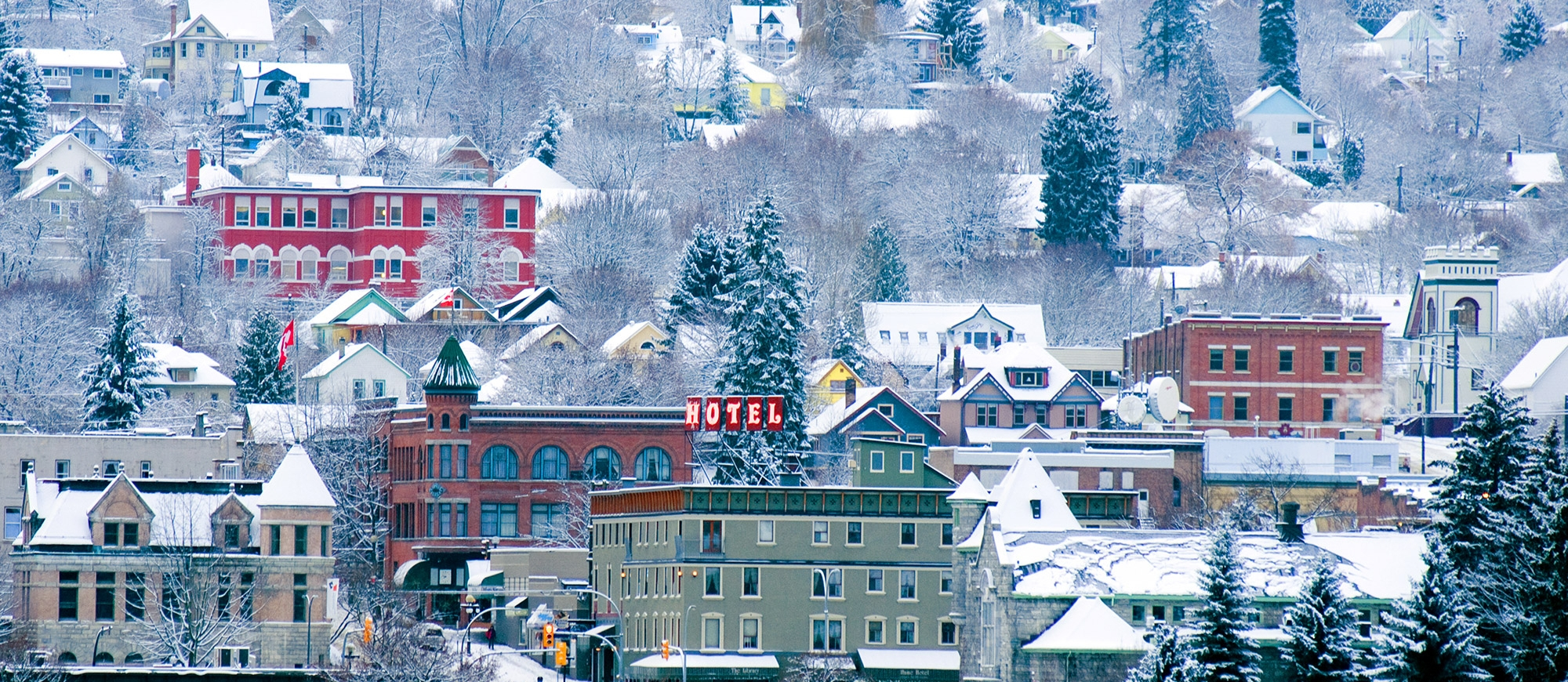 The Hume Hotel and surrounding heritage buildings covered in snow in Nelson, BC