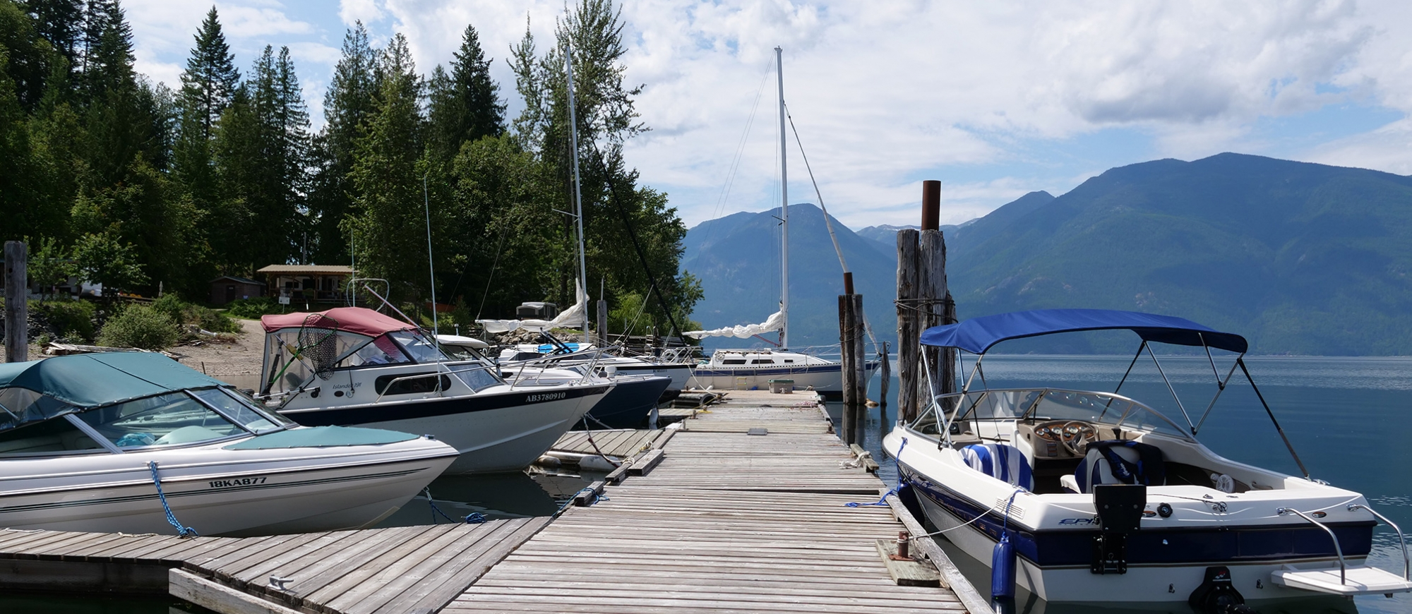 Looking down the dock at The Lakeview in Gray Creek near Crawford Bay, BC