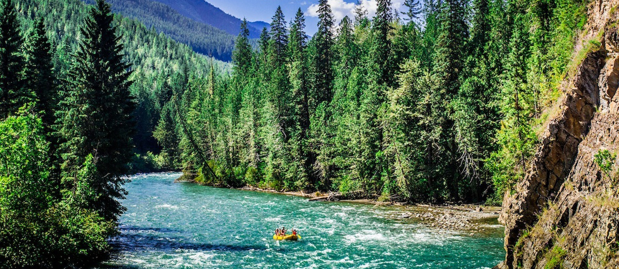 Rafting down the Lardeau River near nelson, BC.