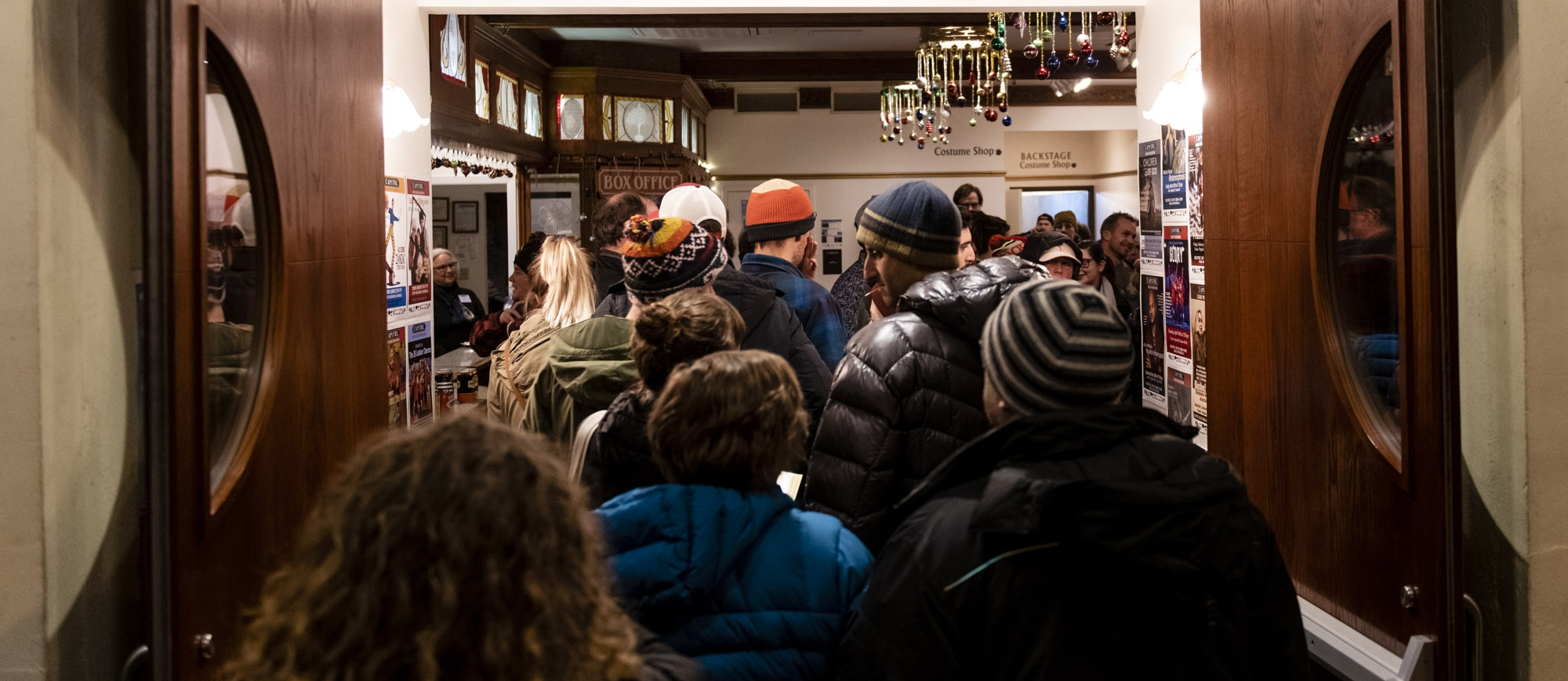 A crowd walking into the Capitol Theatre in Nelson, BC during the Banff Mountain Film Festival