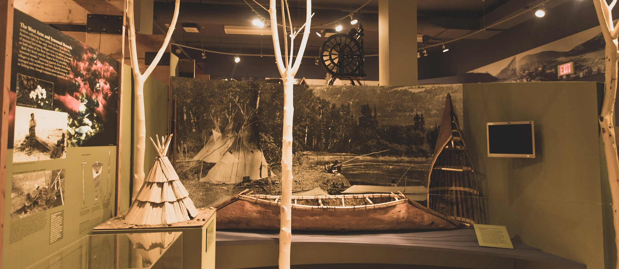 An exhibit in Touchstone Nelson Museum of Art and History showing some indigenous history of the region.