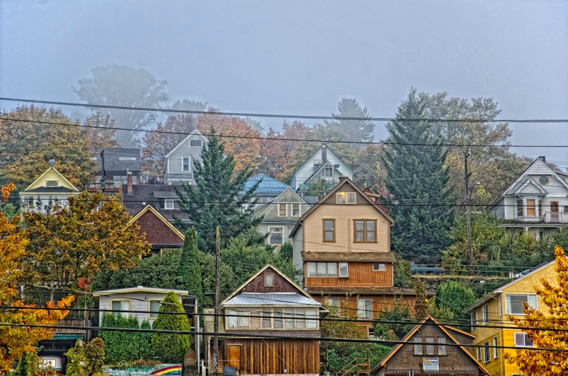 A misty view on Nelsons heritage homes, Photographer Kevin Underwood