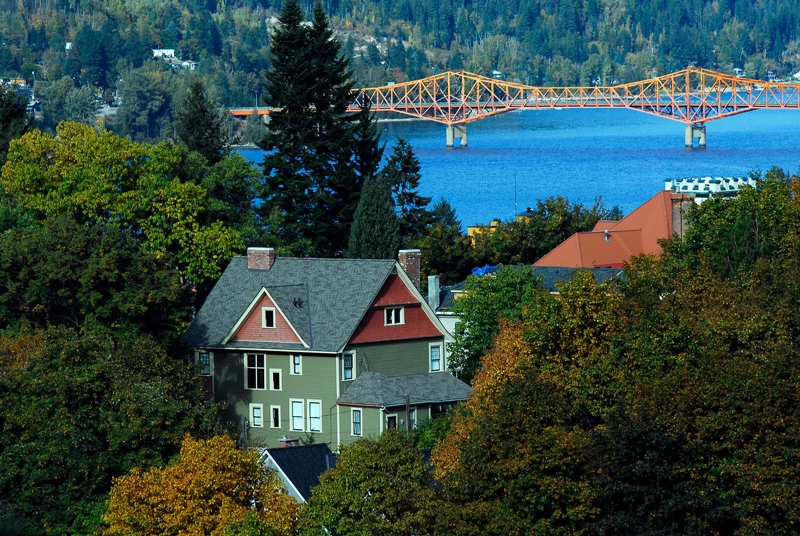 A scenic view of The Big Orange Bridge in Nelson BC, Photographer Phill Best