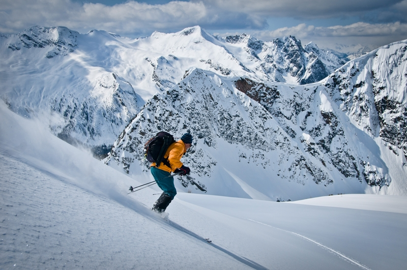 Alpine skiing in Powder Creek BC, Photographer David Gluns