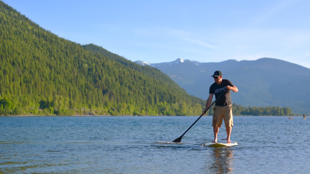Paddle boarding on Kootenay Lake. Photo: Janneke Guenther