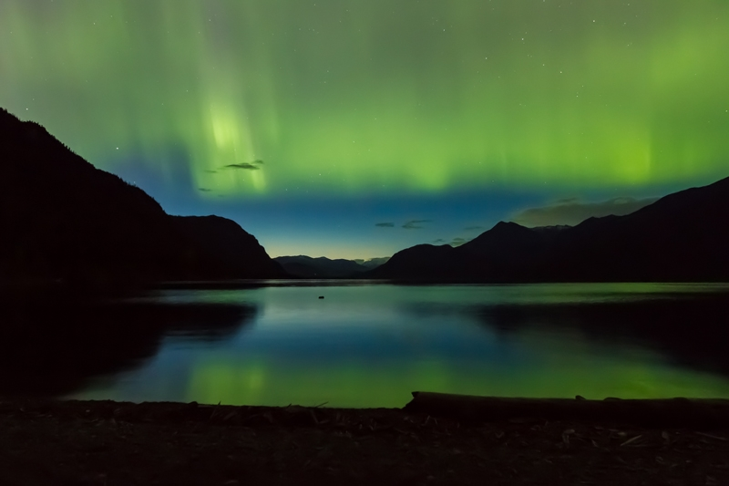 The Aurora Borealis over Kootenay lake, Photographer Ryan Flett