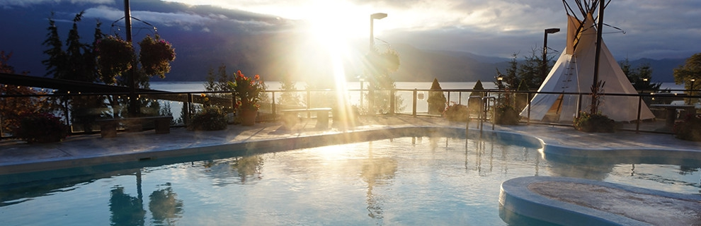 Ainsworth Hot Springs, near Nelson, with the main pool lit by the setting sun.
