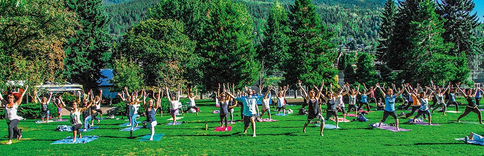Yoga in the park at Kootenay Spirit Festival 2015